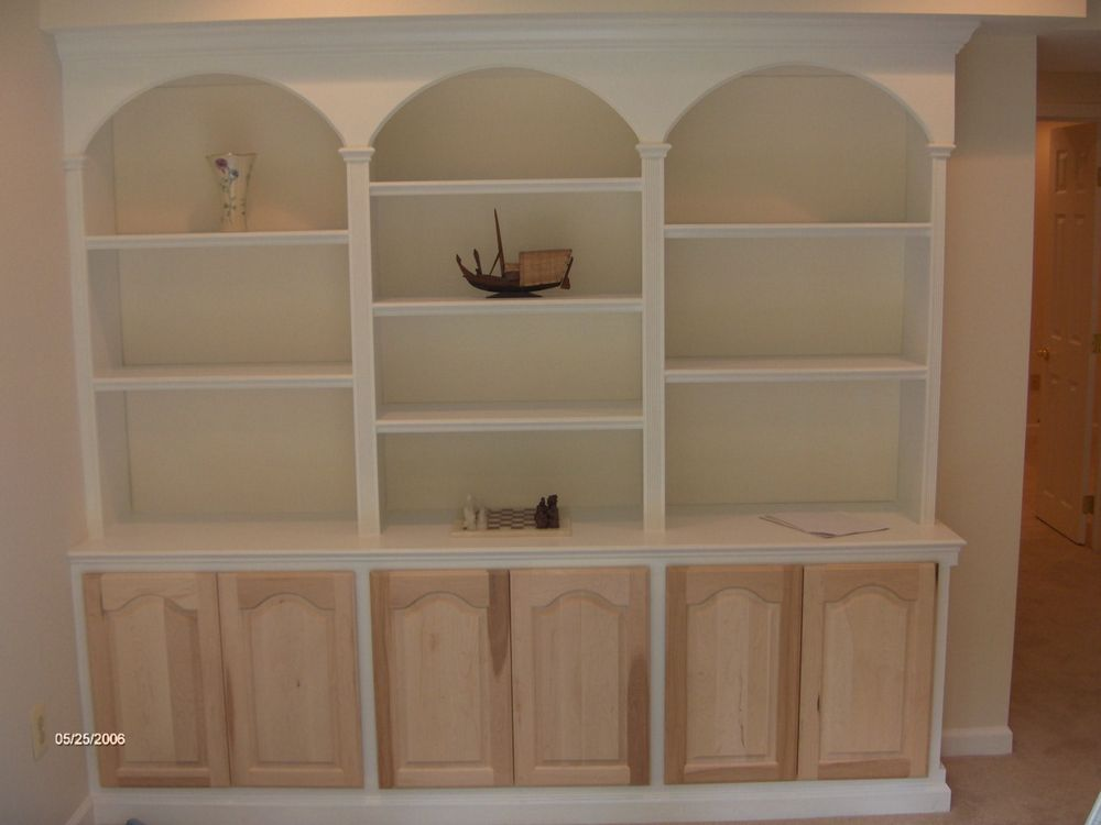 Curved Arch Cornice With 12 Inch Upper Shelves And 24 Deep Lower Doors