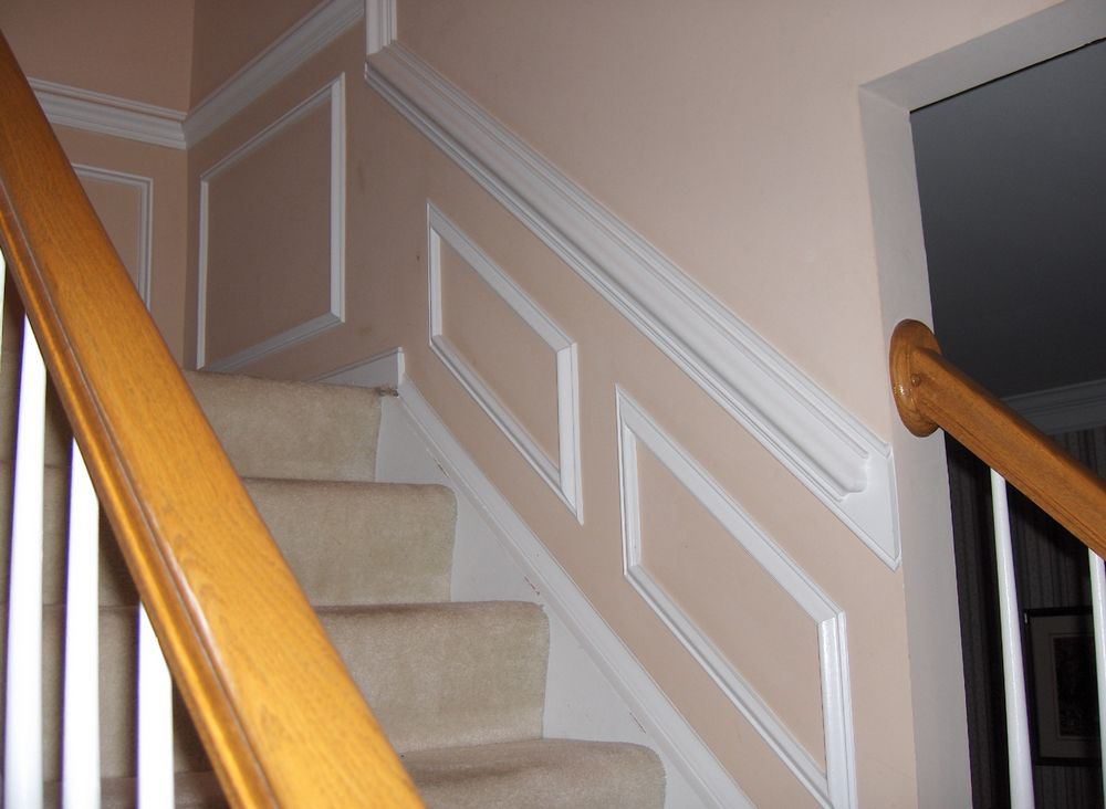 Chair Rail Staircase Part - 18: Chair Rail And Picture Molding Angled With Slope Of The Stairs